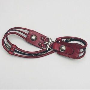 DE LONTI Red Leather Statement Belt Medium Italy